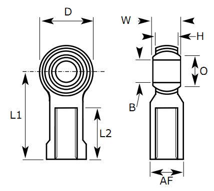 FPL-M08C Dunlop Left Hand Metric Steel - Nylon Female Rod End M8x1.00 Thread 8mm Bore image 2