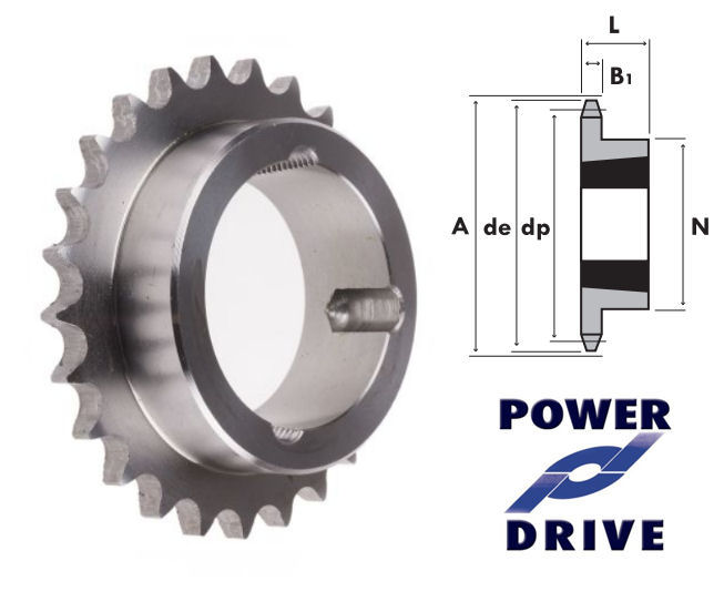 30 Tooth 08B Simplex Taper Sprocket to suit 1/2 Inch Pitch Chain image 2