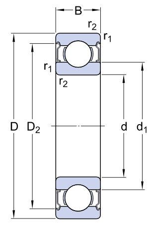 6308-2Z/C3 SKF Shielded Deep Groove Ball Bearing 35x80x21mm image 2