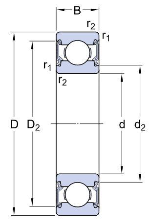 6016-2RS1/C3 SKF Metric Sealed Deep Groove Ball Bearing 80x125x22mm image 2