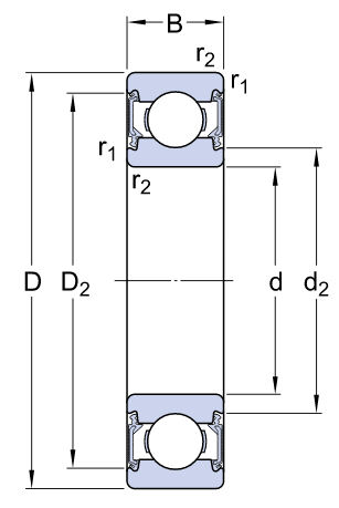 6218-2RS1/C3 SKF Sealed Deep Groove Ball Bearing 90x160x30mm image 2