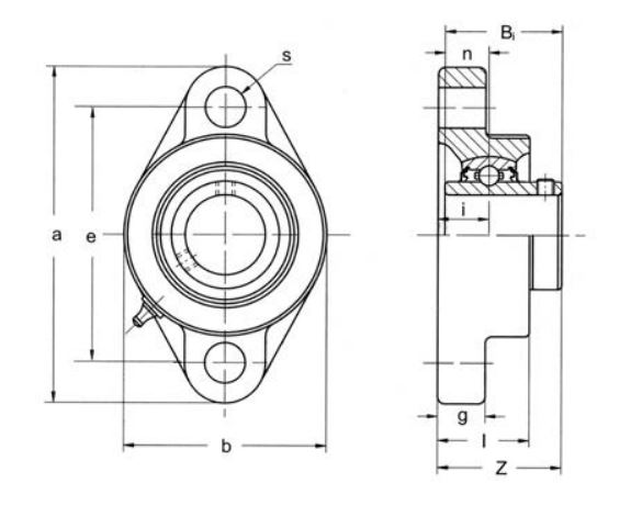 UCFL212-38 BKL Brand 2 Bolt Flange Bearing 2.3/8'' inch Shaft image 2