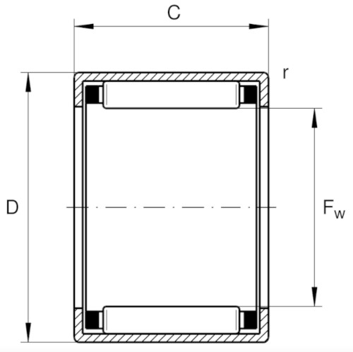 HK2016-B INA Drawn Cup Needle Roller Bearing 20x26x16mm image 2